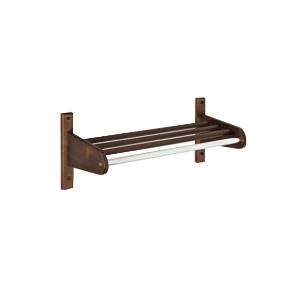 "CSL TFXW-1824D 18"" Dark Oak Hardwood Top Bars Wall Mount Coat Rack with 1"" Hanging Rod"