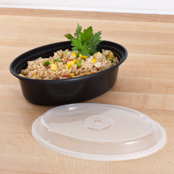 """Newspring OC-16-B 16 oz. Black 6 3/4"""" x 4 3/4"""" x 1 7/8"""" VERSAtainer Oval Microwavable Container with Lid - 150/Case"""