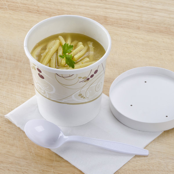 Dart Solo KH16A-J8000 Symphony Print 16 oz. Double-Wall Poly Paper Soup / Hot Food Cup with Vented Paper Lid - 250/Case