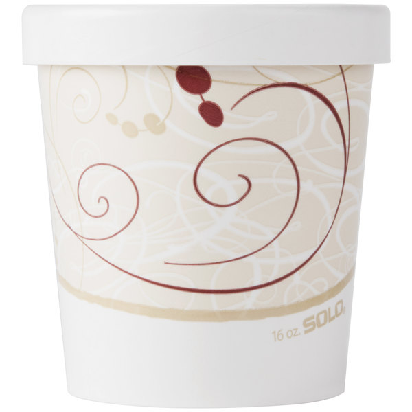 Dart Solo KH16A-J8000 16 oz. Double-Wall Poly Paper Soup / Hot Food Cup with Vented Paper Lid and Symphony Design - 250/Case
