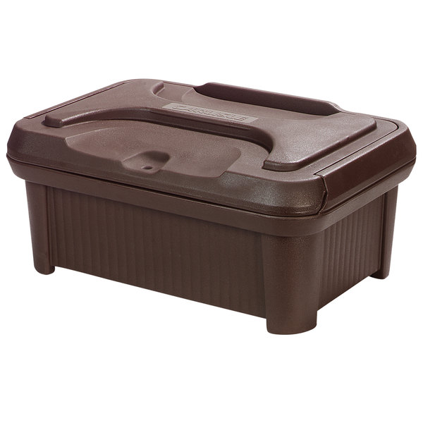 """Carlisle XT180001 Cateraide Slide 'N Seal 8"""" Brown Insulated Food Pan Carrier and Sliding Lid Set"""
