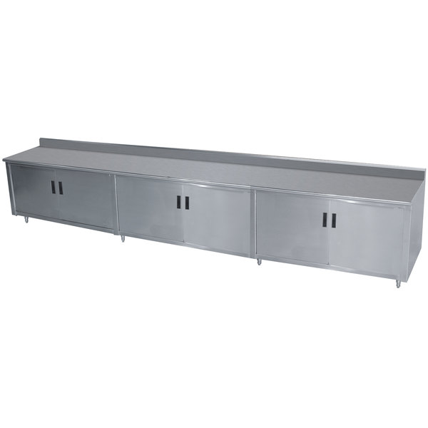 """Advance Tabco HK-SS-3012 30"""" x 144"""" 14 Gauge Enclosed Base Stainless Steel Work Table with Hinged Doors and 5"""" Backsplash"""