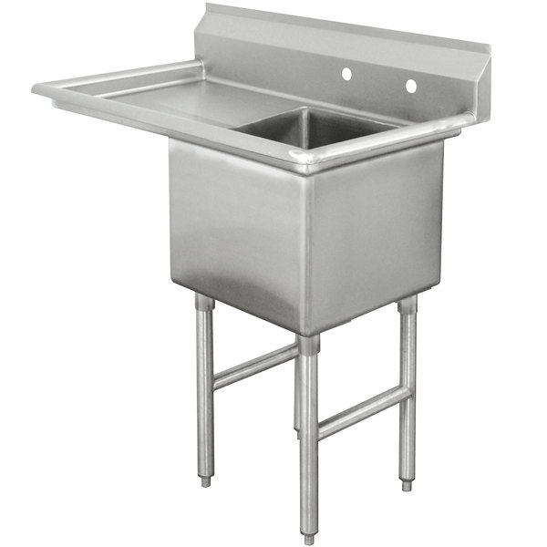Left Drainboard Advance Tabco FC-1-1818-24 One Compartment Stainless Steel Commercial Sink with One Drainboard - 45""
