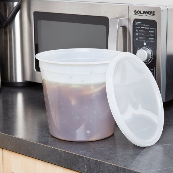 5.25 Qt. Translucent Round Deli Container and Lid Combo Pack - 5/Pack