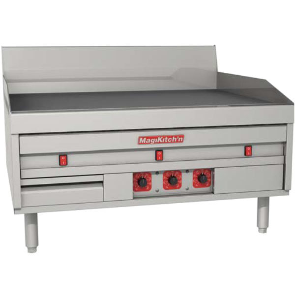 """MagiKitch'n MKE-60-ST-CHROME 60"""" Electric Chrome Countertop Griddle with Solid State Thermostatic Controls - 208V, 3 Phase, 28.5 kW Main Image 1"""