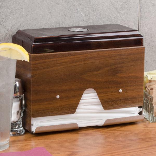 Vollrath 3815-12 Straw Boss Single Sided Wrapped Straw Dispenser - Dark Walnut Woodgrain