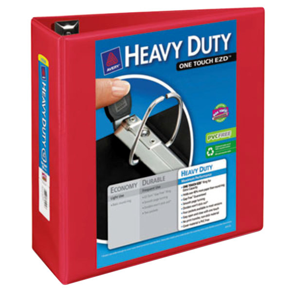 """Avery 79326 Red Heavy-Duty View Binder with 4"""" Locking One Touch EZD Rings"""