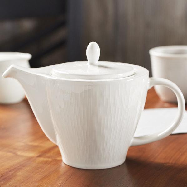 Syracuse China 909089726 Royal Rideau Solario 15 oz. Porcelain Teapot with Lid - 12/Case