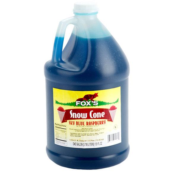 Fox's 1 Gallon Sky Blue Raspberry Snow Cone Syrup - 4/Case