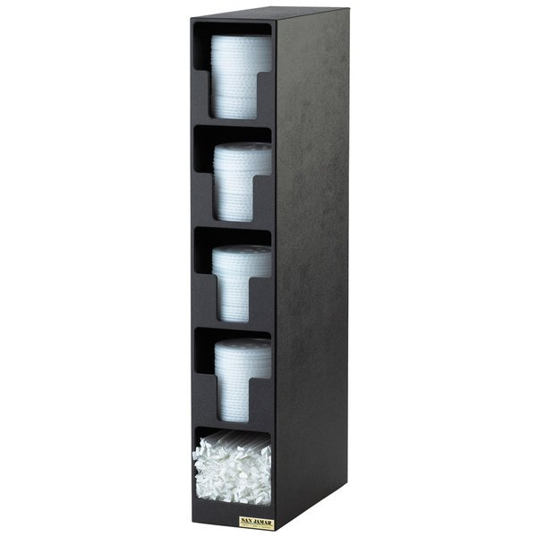 San Jamar L2204 Black 4-Compartment Vertical Countertop Lid Organizer with Straw Bin Main Image 1