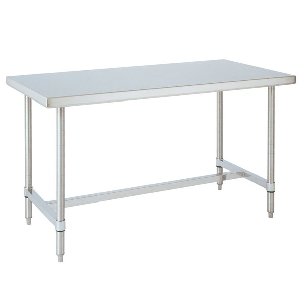 "14 Gauge Metro WT446HS 44"" x 60' HD Super Open Base Stainless Steel Work Table"