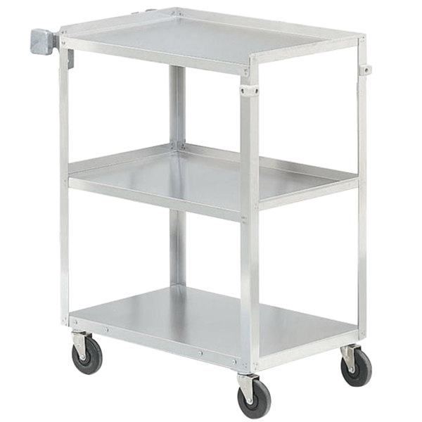 "Vollrath 97126 Stainless Steel 3 Shelf Utility Cart - 30 7/8"" x 17 3/4"" x 33 3/4"" Main Image 1"