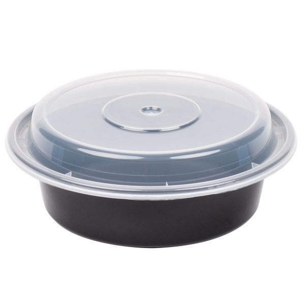 Black 6 Versatainer Round Microwavable Container With Lid 150 Case