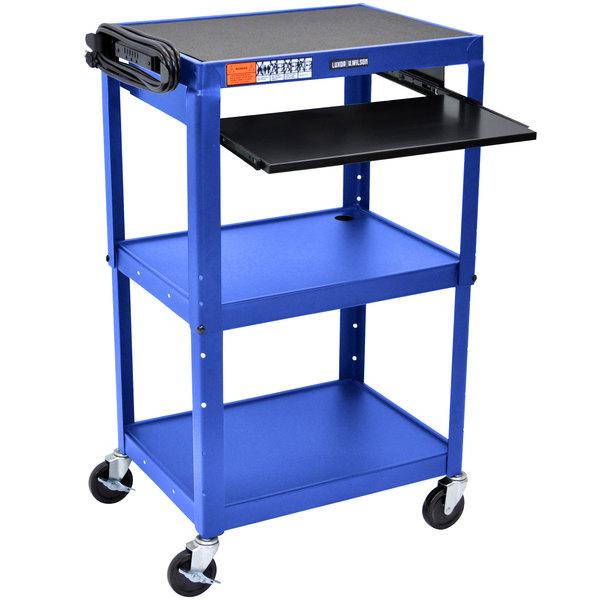 """Luxor AVJ42KB-RB Blue Mobile Computer Cart / Workstation 24"""" x 18"""" with Keyboard Shelf Main Image 1"""