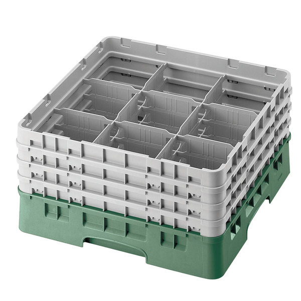 "Cambro 9S1114119 Sherwood Green Camrack Customizable 9 Compartment 11 3/4"" Glass Rack Main Image 1"
