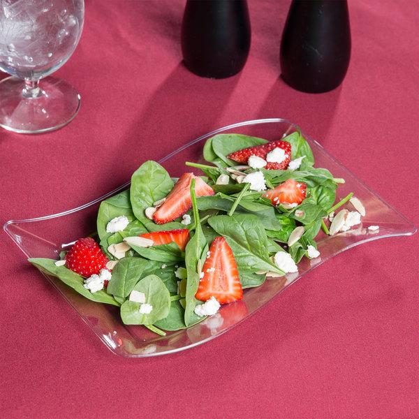 Fineline Wavetrends 1406-CL 6 1/2  x 10  Clear Plastic Salad Plate - 10/Pack & Fineline Wavetrends 1406-CL 6 1/2