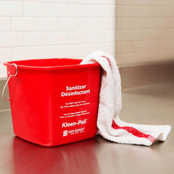San Jamar KP196RD 6 Qt. Red Sanitizing Kleen-Pail