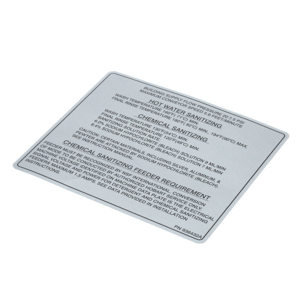 Hobart 00 936432 Instruction Label