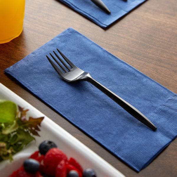 Choice Medium Weight Black Plastic Fork - 100/Pack Main Image 2