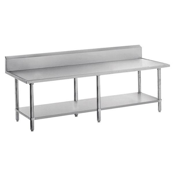 "Advance Tabco VKS-308 Spec Line 30"" x 96"" 14 Gauge Work Table with Stainless Steel Undershelf and 10"" Backsplash"