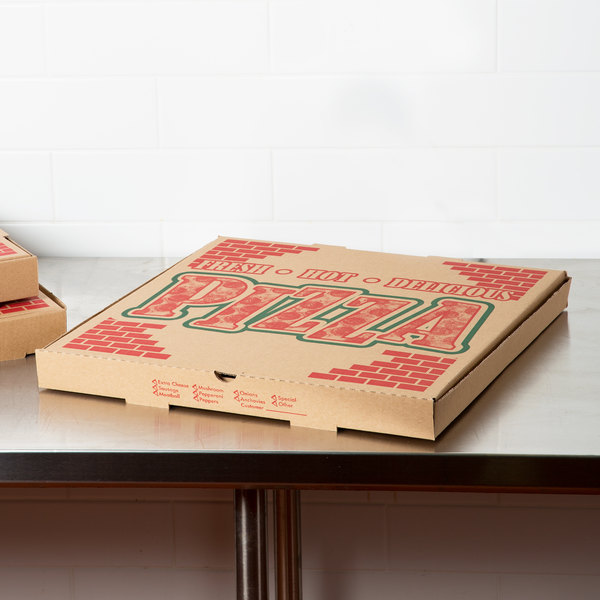 "20"" x 20"" x 1 3/4"" Kraft Corrugated Pizza Box - 25/Case"