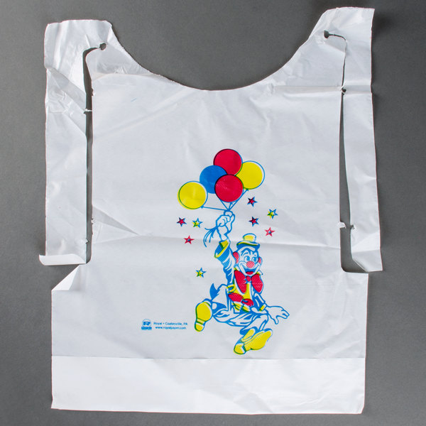 Royal Paper CPB10 Child's Poly Bib with Clown - 500/Box