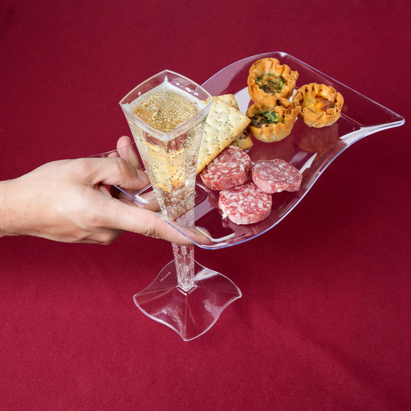 "Fineline Wavetrends 1409-CL 6"" x 9 1/2"" Clear Plastic Cocktail Plate with Stemware Hole - 10/Pack"