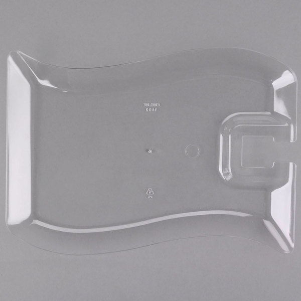 Fineline Wavetrends 1409-CL 6 inch x 9 1/2 inch Clear Plastic Cocktail Plate with Stemware Hole - 10/Pack