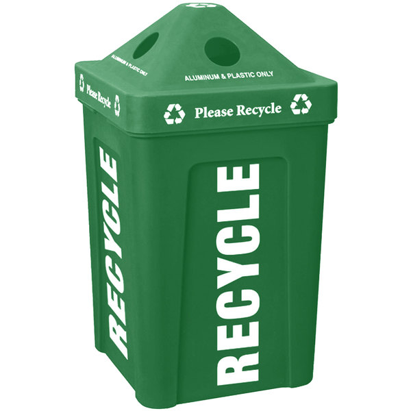 IRP 1070 Green Stacking Pyramid Lid Recycle Bin - 48 Gallon
