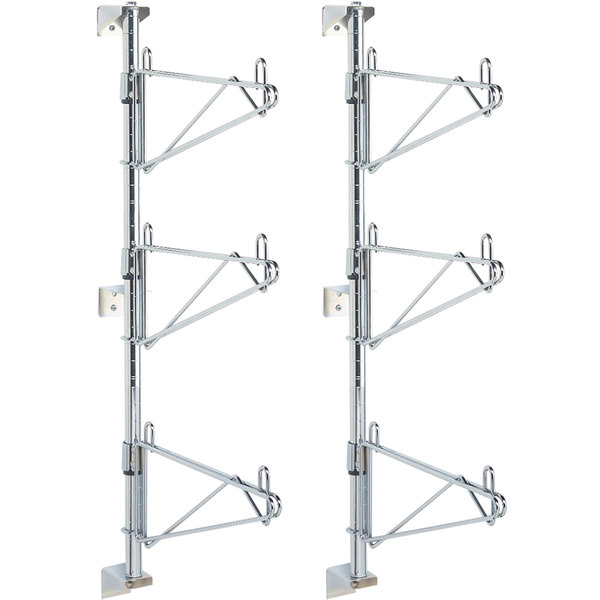 "Metro SW55C Super Erecta Chrome Triple Level Post-Type Wall Mount End Unit for 24"" Deep Shelf - 2/Pack"