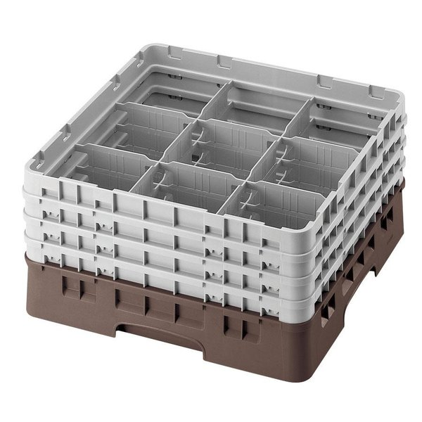 """Cambro 9S434167 Brown Camrack Customizable 9 Compartment 5 1/4"""" Glass Rack"""