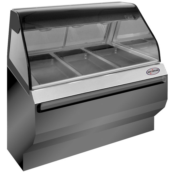 """Alto-Shaam ED2SYS-48/P BK Black Heated Display Case with Curved Glass and Base - Self Service 48"""""""