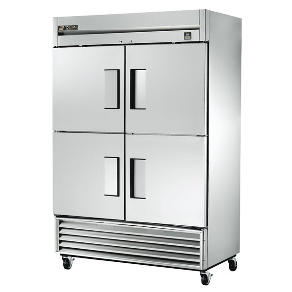 True TS-49-4 54 inch Stainless Steel Two Section Solid Half Door Reach In Refrigerator - 49 Cu. Ft.