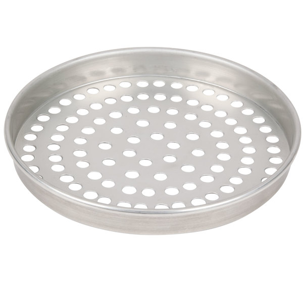 "American Metalcraft SPT4012 12"" x 1"" Super Perforated Tin-Plated Steel Straight Sided Pizza Pan"