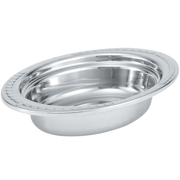 "Vollrath 8230210 Miramar® 2 Qt. Decorative Stainless Steel Oval Food Pan - 2 1/2"" Deep Main Image 1"