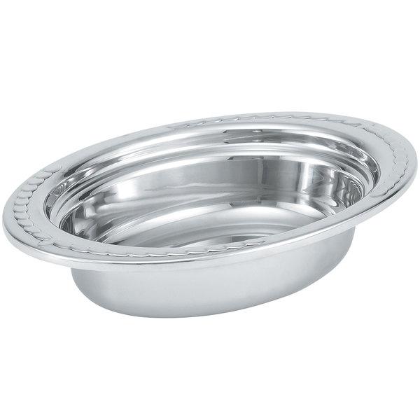 "Vollrath 8230210 Miramar® 2 Qt. Decorative Stainless Steel Oval Food Pan - 2 1/2"" Deep"