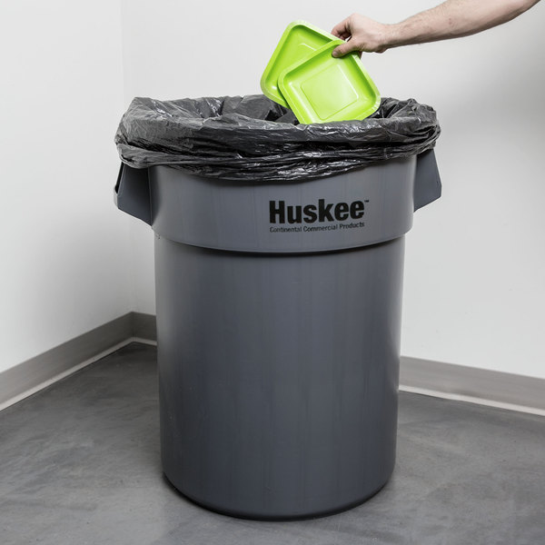 Continental 5500GY Huskee 55 Gallon Gray Round Trash Can Main Image 7