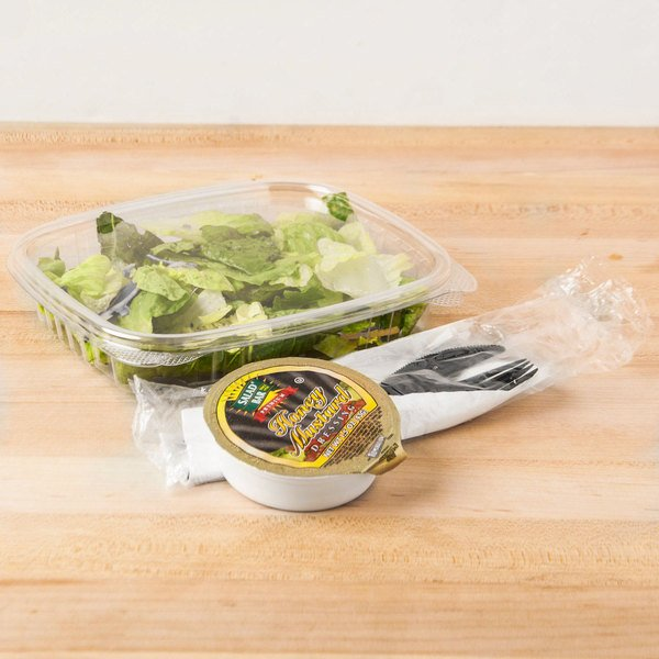 Genpak AD16S 16 oz. Clear Shallow Hinged Deli Container - 100/Pack Main Image 5