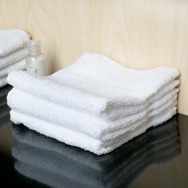 """Lavex Lodging 13"""" x 13"""" 100% Ring Spun Cotton Hotel Washcloth 1.5 lb. - 12/Pack"""