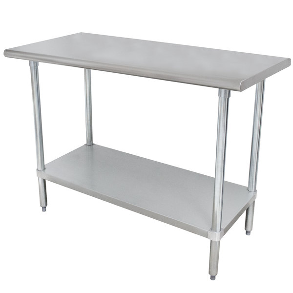 """Advance Tabco ELAG-244-X 24"""" x 48"""" 16 Gauge Stainless Steel Work Table with Galvanized Undershelf"""