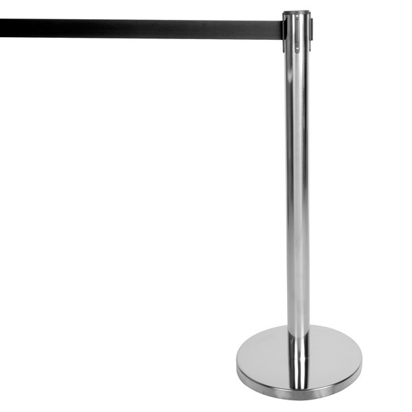 "Aarco HC-7 Chrome 40"" Crowd Control / Guidance Stanchion with 84"" Black Retractable Belt"