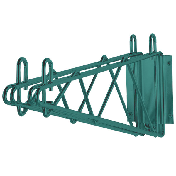 "Advance Tabco GDB-18 18"" Deep Double Wall Mounting Bracket for Adjoining Green Epoxy Coated Wire Shelves"