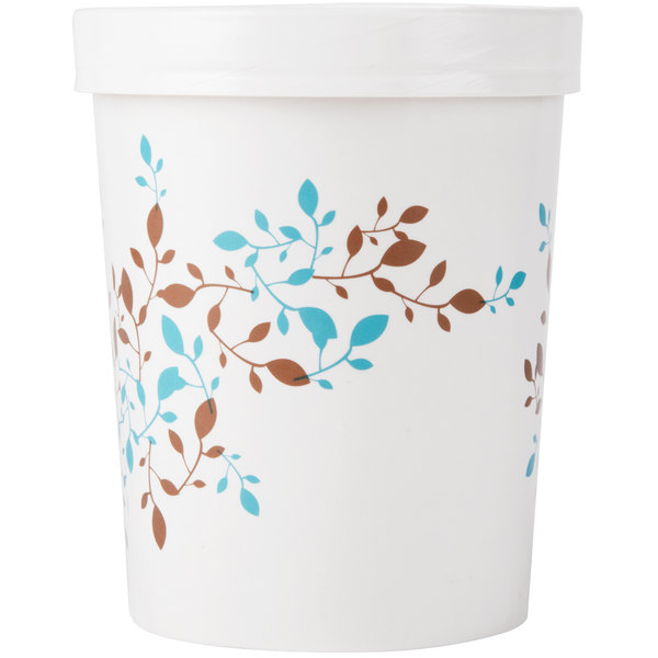 Huhtamaki Chinet 52220 32 oz. Double-Wall Poly Paper Soup / Hot Food Cup with Vented Paper Lid and Vine Design - 250/Case