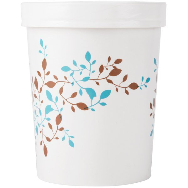 Huhtamaki Chinet 52220 Vine Print 32 oz. Double-Wall Poly Paper Soup / Hot Food Cup with Vented Paper Lid - 250/Case