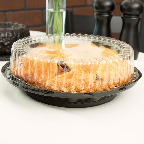 "D&W Fine Pack J43-1 9"" Black Pie Display Container with Clear High Dome Lid - 20/Pack"