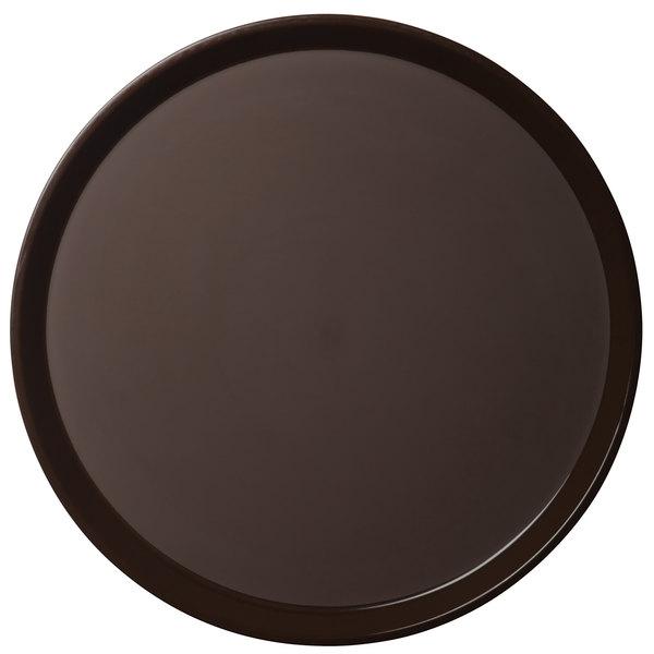 "Cambro PT1600167 Brown 16"" Round Polytread Serving Tray"