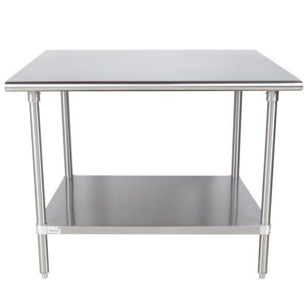 """Advance Tabco Premium Series SS-364 36"""" x 48"""" 14 Gauge Stainless Steel Commercial Work Table with Undershelf"""
