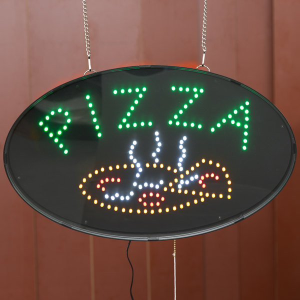 "Choice 20 7/8"" x 13"" LED Pizza Sign With Two Display Modes"