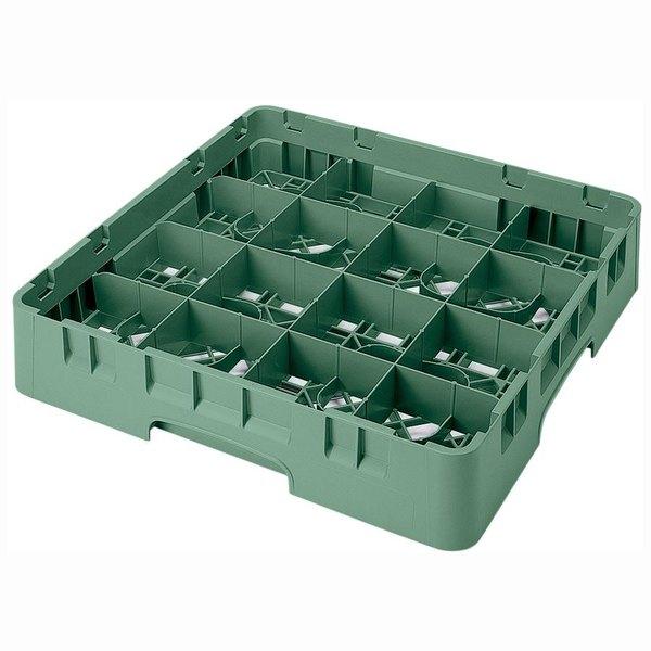 "Cambro 16S434119 Camrack 5 1/4"" High Customizable Sherwood Green 16 Compartment Glass Rack"