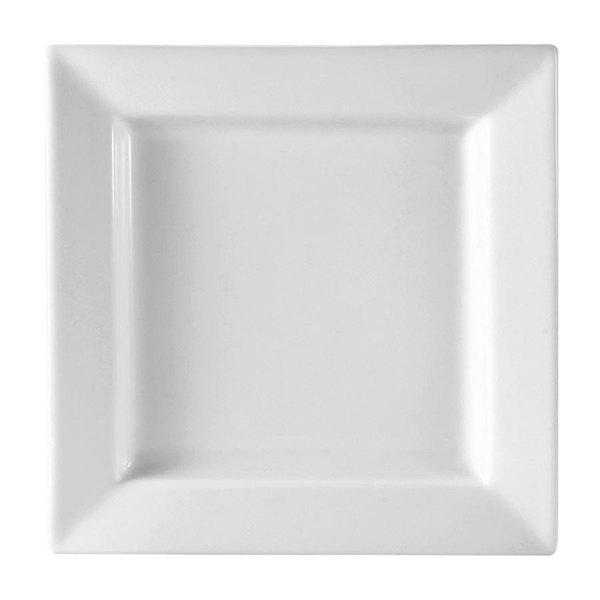 "CAC PNS-16 Princesquare 10"" Bright White Square Porcelain Plate - 12/Case"